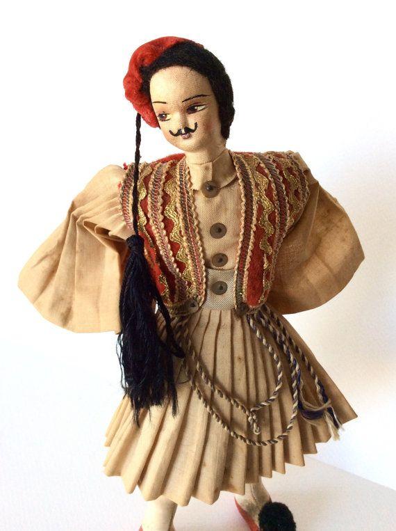 Vintage Greek doll. Vintage doll. Souvenir by SouthofFranceFinds