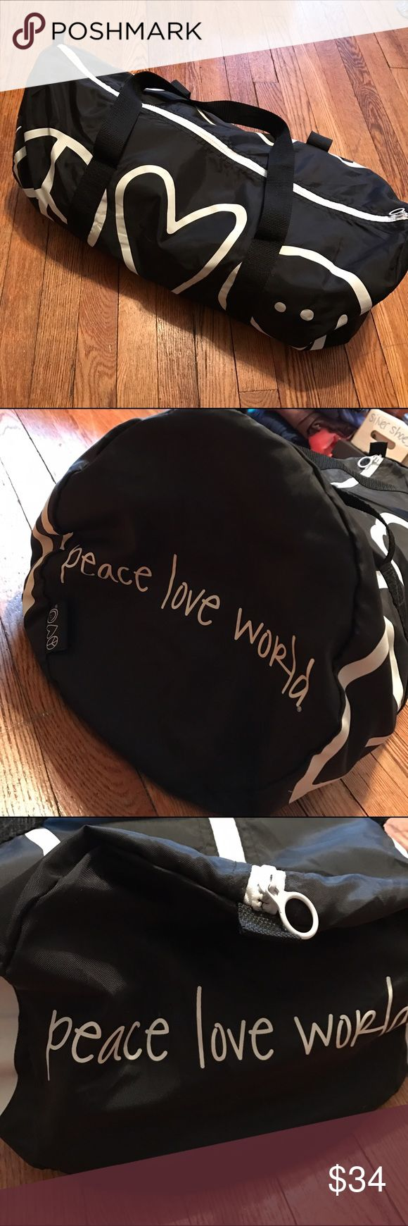 Peace Love World Nylon Duffle Bag or Gym Bag Peace Love World nylon bag - black bag with white Peace Love World logo and detail - great to use as a gym bag or weekender - lightweight and super cute! Peace Love World Bags