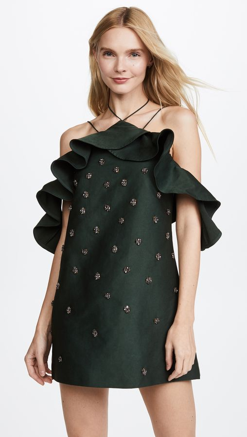 Perfect forest green party dress for the holidays from C/Meo Collective Assemble Dress
