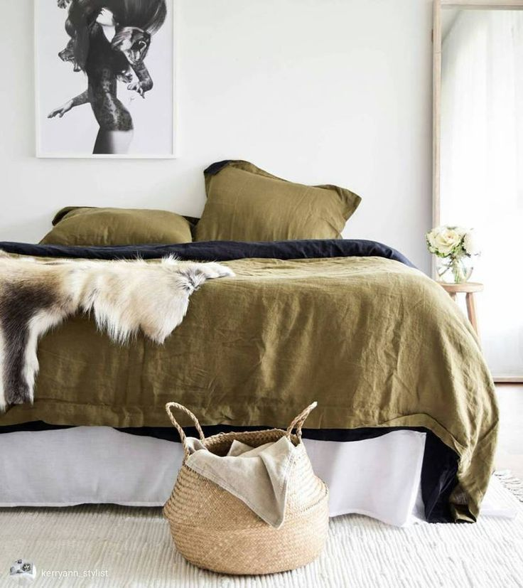 """Why You Need to Know about the Danish Tradition """"HYGGE""""   natural rustic decor, fur throw + linen bed set"""