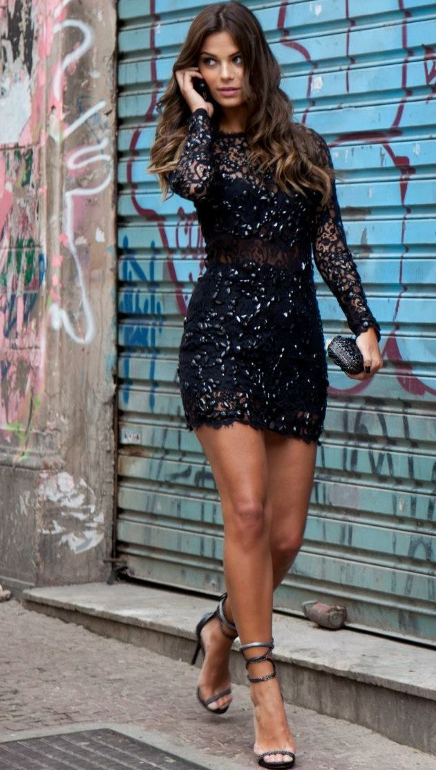 Evening Black Dress, Cover With Glitter, Short, Long Sleeves / Only Me ✌✔ xoxo