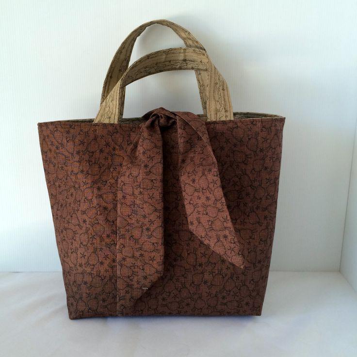 fabric bag, tote bag, brown tote, dark beige bag, medium tote, handmade bag, sheep, stars by SistersKnot on Etsy