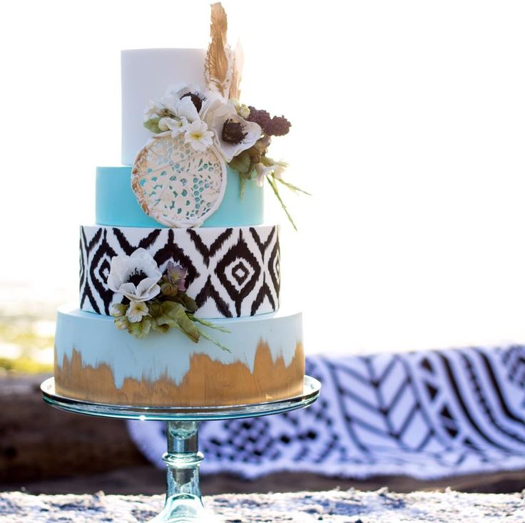 Beachy Boho wedding cake made by Cake by Annie