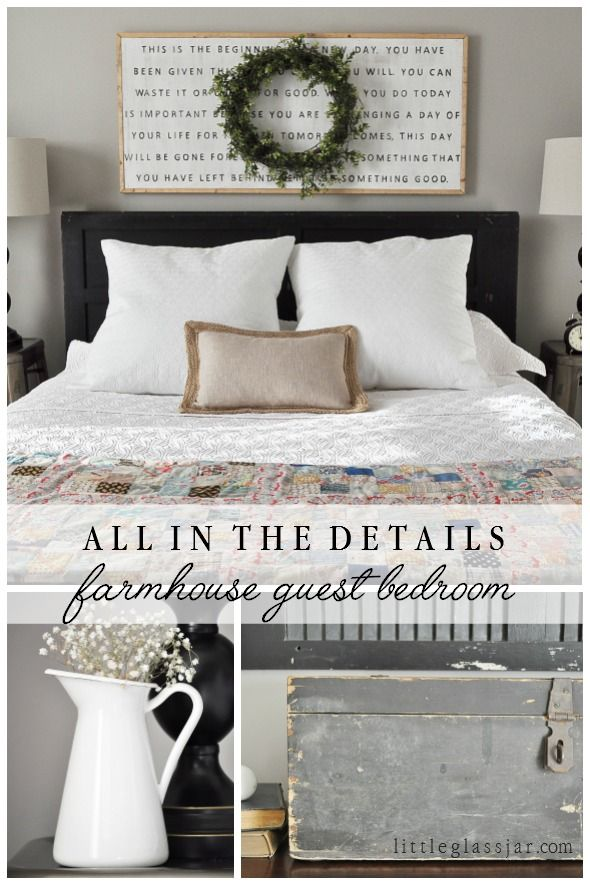 All the details on our cute farmhouse styled guest bedroom  via littleglassjar com Best 25 Guest decor ideas Pinterest Spare