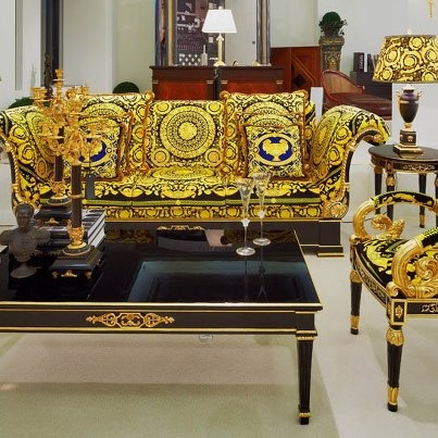 #VERSACE #BlackandGold Living Room Interior