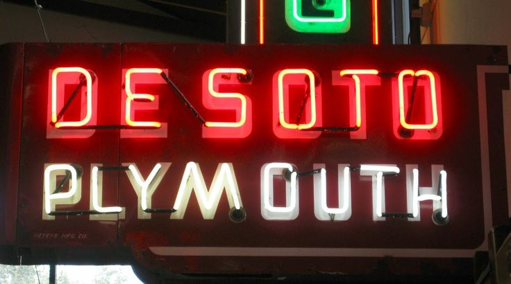 Old Classic Cars >> Desoto Plymouth Neon Sign   Automotive Logos Trademarks ...