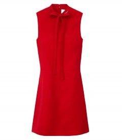 Valentino Red Tie Neck Sleeveless Dress - Fall's newest looks have us mad for mod, shop the best for what's next: http://shop.harpersbazaar.com/in-the-magazine/new-season