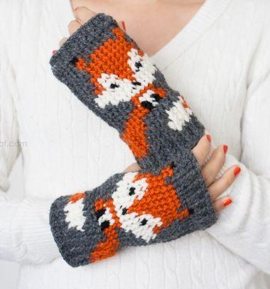 Fingerless fox gloves - free crochet pattern  // Horgolt rókás meleg téli ujjatlan kesztyűk // Mindy - craft tutorial collection //