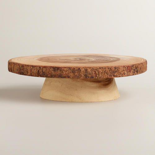 Wood Bark Pedestal Stand at Cost Plus World Market >> #WorldMarket Thanksgiving Entertaining #Holiday