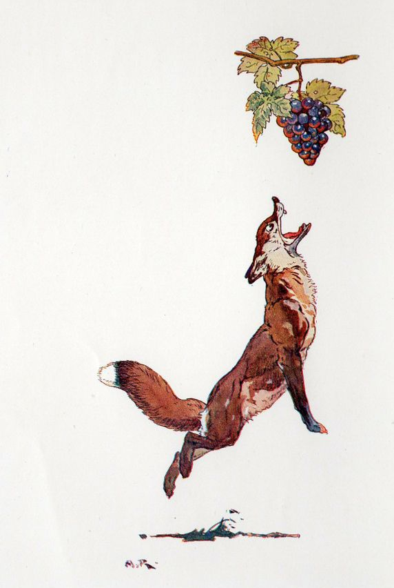 """Harry Rountree (1878-1950) - """"The Fox and the Grapes"""" (From Aesop's Fables), 1935"""