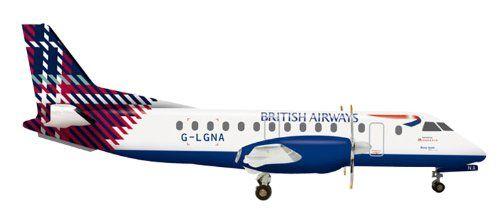 Herpa 555777 British Airways Loganair Saab 340 Benyhone Tartan G-LGNA 1:200 Diecast Model: Amazon.co.uk: Toys & Games