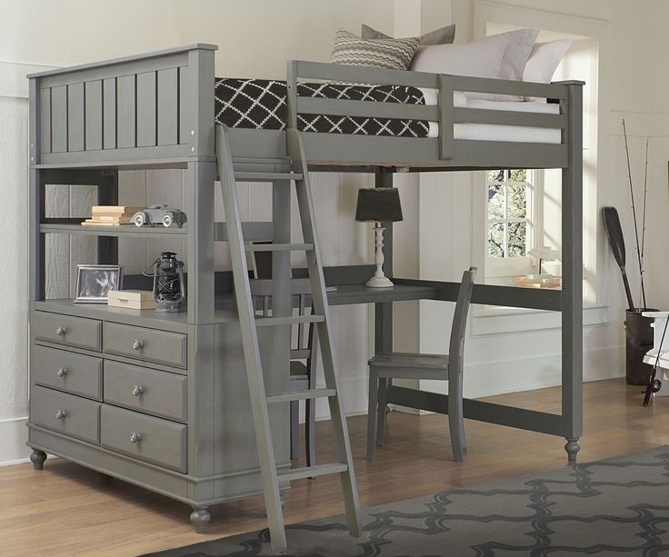 ... Stone Finish Loft Bed With Desk ☆ The 2045 Full Size NE Kids Loft Bed  Includes A Built In Dresser To Make The Most Out Of Your Childu0027s Bedroom ...