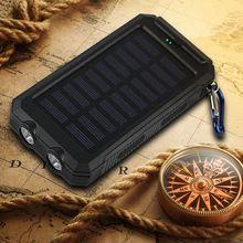 10000mah Travel Portable Waterproof Solar Power Bank 2 USB External Solar Panel Charging Dual LED Light Compass For All Phone