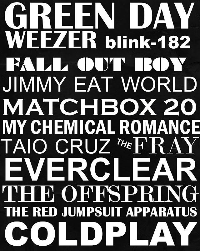 Green Day, MCR and Jimmy Eat World are my favourites out of these :P
