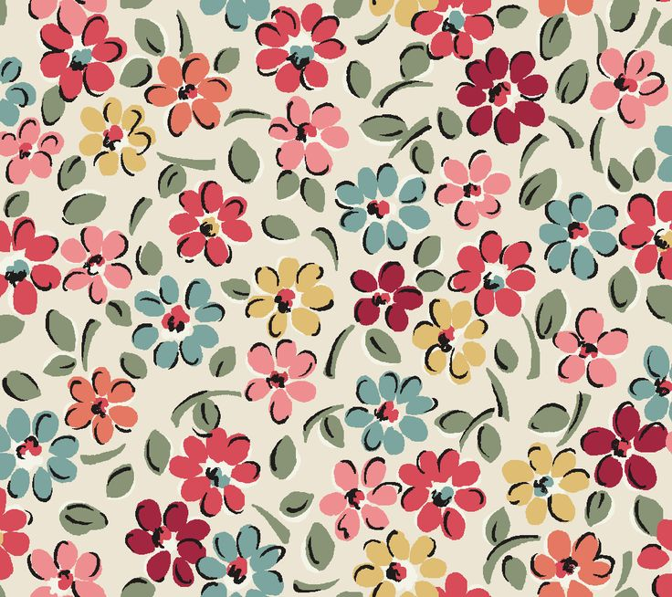 Garden Ditsy | A sweet daisy bed floral in muted blues and reds with our trademark pop of bright pink, just like the wildflower beds of late summer in England.