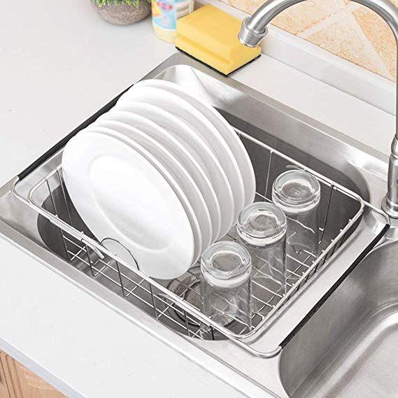 Amazon Com Expandable Dish Drying Rack Rustproof Stainless Steel