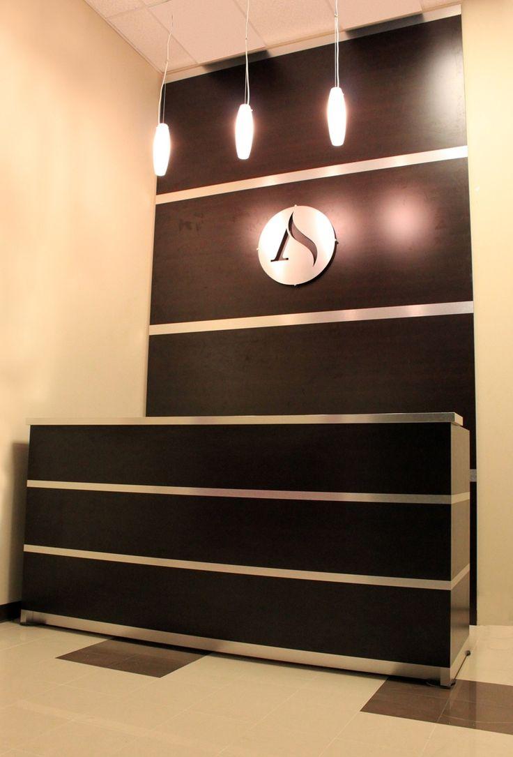 Home gt reception desks gt 12 curved walnut glass top reception desk - Reception Desk Accent Wall Brushed Aluminum Wenge