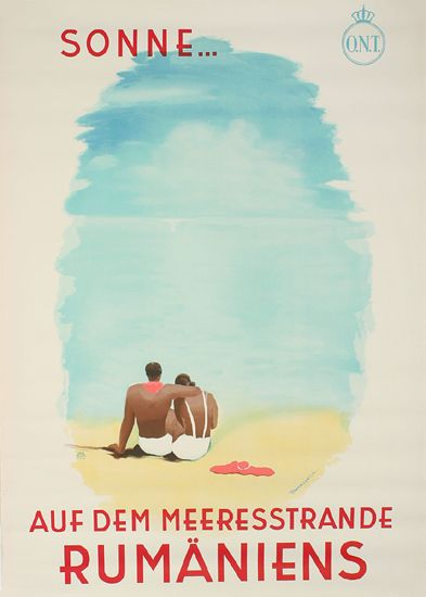 1935 Romantic and slightly mysterious vintage poster for the beaches and sun of Romania