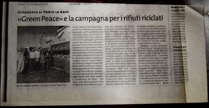 Articolo  giornale  Greenpeace  a Messina
