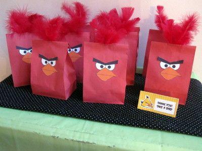 bolsas de papel personalizadas para fiestas infantiles -  angry birds