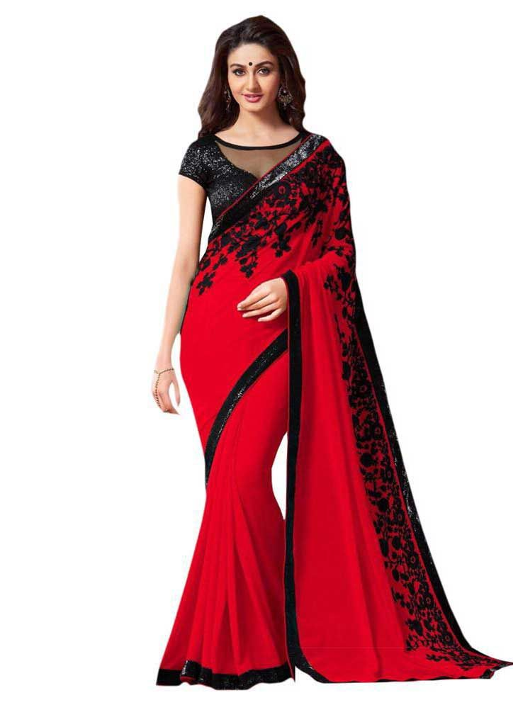 Red And Black Living Room Decorating Ideas: Red And Black Saree:Buynow@900 INR.