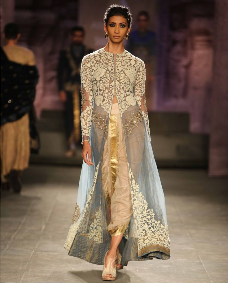 Embroidered Soft Blue Long Kurta with Dhoti Pants by Anju Modi | India Couture Week - 2014