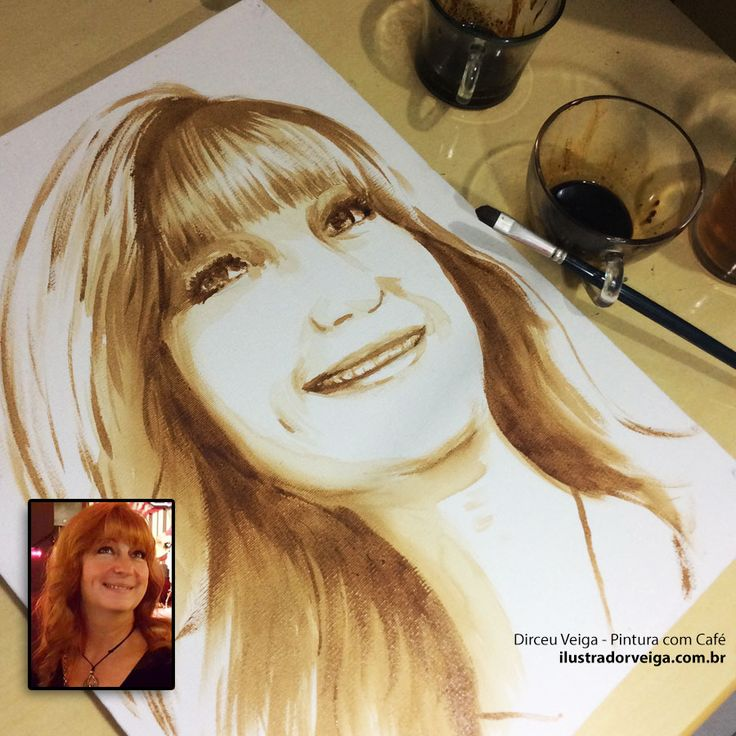 Pintura de Retrato em Café - Coffee Art sob Encomenda