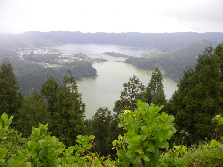 Crater Lakes at Ponta Delgada, Azores.  One half is green, and the other is blue.