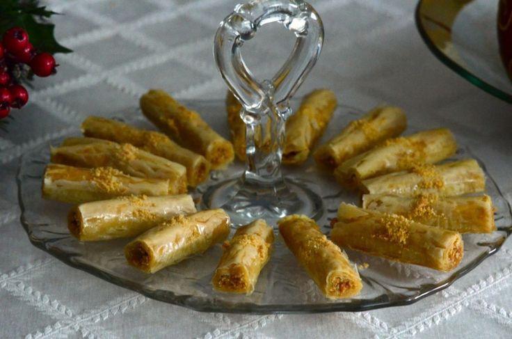 Lebanese Almond Baklawa Fingers Recipe | Rose Water & Orange Blossoms