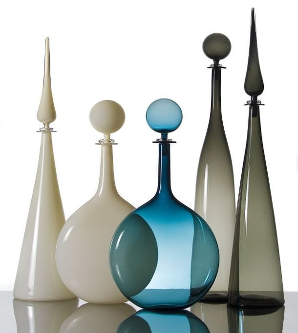 Joe Cariati uses a Venetian off-hand method of glass blowing to create these simple and contemporary works of transparent art.