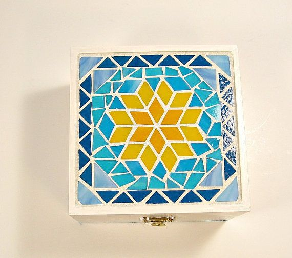 White painted wooden box with stained glass mosaic design turquoise and orange-yellow