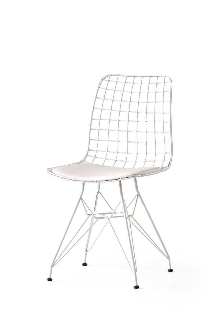 4er Set Iron Esszimmerstuhl Metallstuhl Metalldraht Stuhl Weiss In 2020 Metallstuhle Stuhle Weisse Stuhle