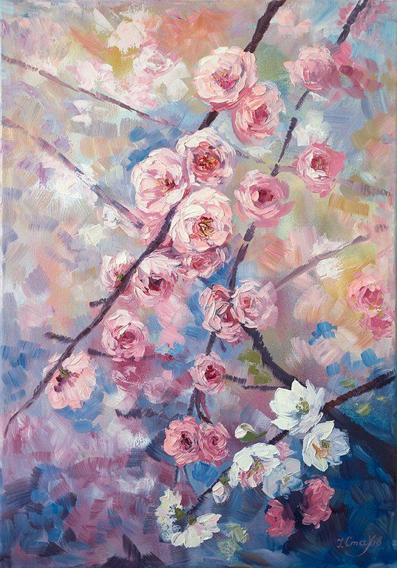 Cherry Blossom Painting On Canvas Abstract Flowers Original Etsy Cherry Blossom Painting Flower Painting Original Sakura Painting