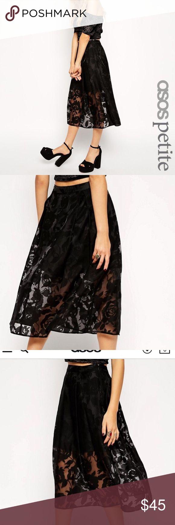 Just In‼️Asos Petite Skirt‼️ Beautiful Black Sheer Floral Organza Overlay Skirt. NWT. ‼️Bundle & Save‼️ ASOS Petite Skirts Midi