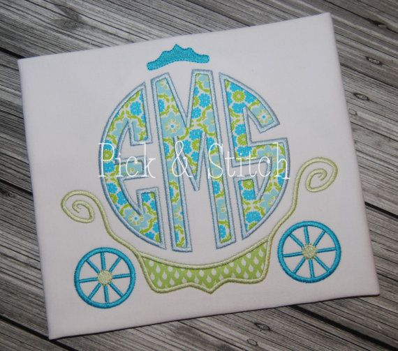 Princess Carriage Monogram Frame Applique Design by pickandstitch, $4.00
