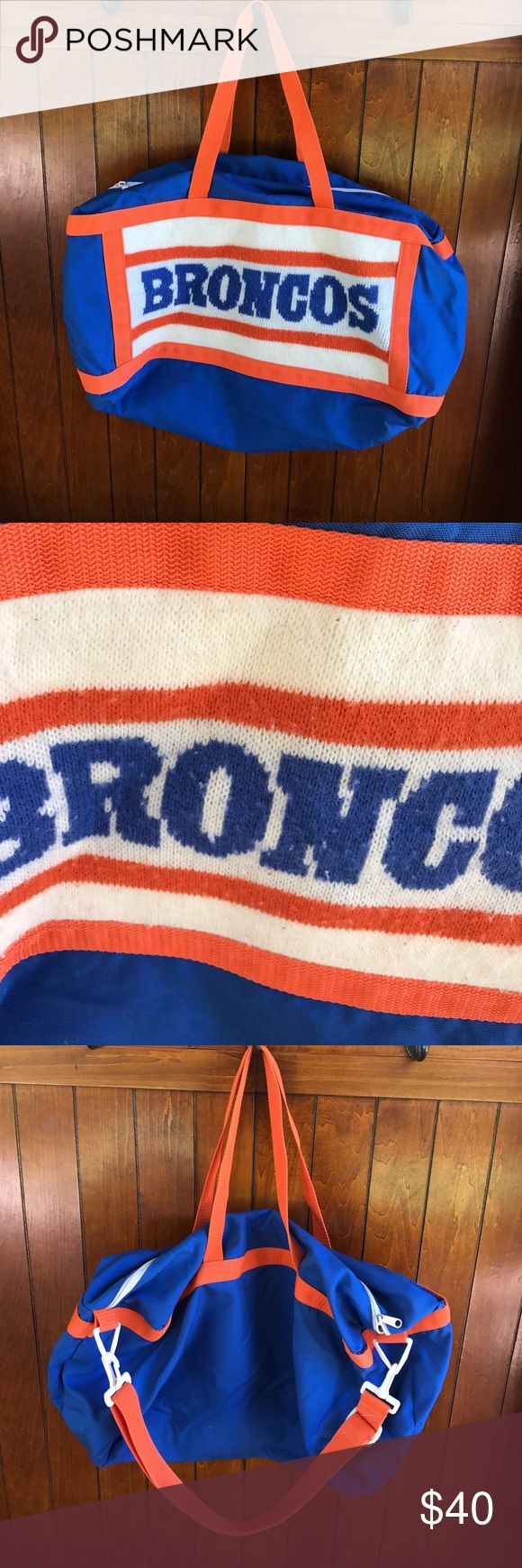 Vintage Denver Broncos duffle bag Super cool bag!  The knit Broncos has some piling.  A few marks on the outside.  The inside has some discoloration.  I think it is the canvas aging over time.  This is a score! Vintage Bags Travel Bags