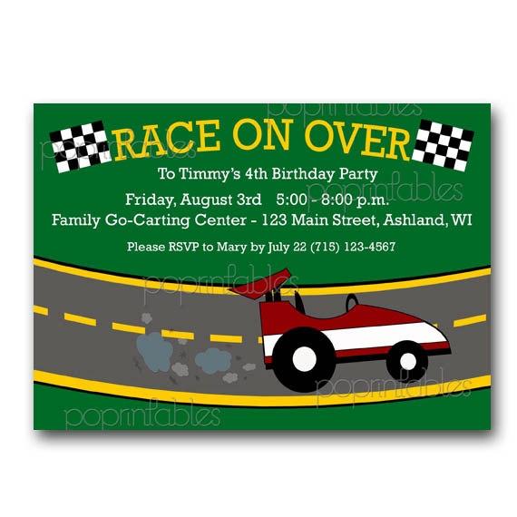 Race Car Or Go Kart Party Invitation Custom Digital