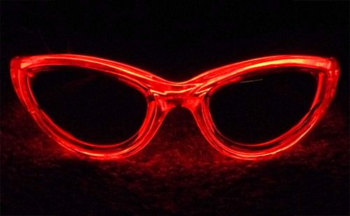 EL Wire Sunglasses Electroluminescent Light Glow Glasses Red