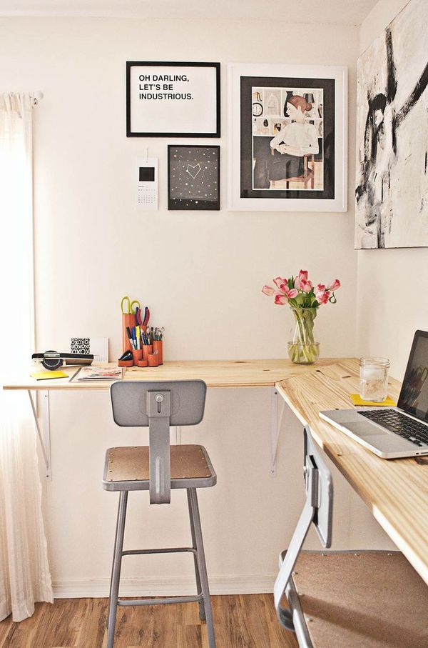 A New Twist on the DIY Standing Desk - How to Build a Wall-Mounted Work Station | Man Made DIY | Crafts for Men | Keywords: decor, workspace...