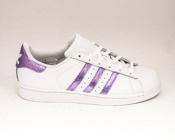 ac004b3153f69 Glitter | Limited Edition Lavender Light Purple Adidas Superstars II  Fashion Sneakers Shoes