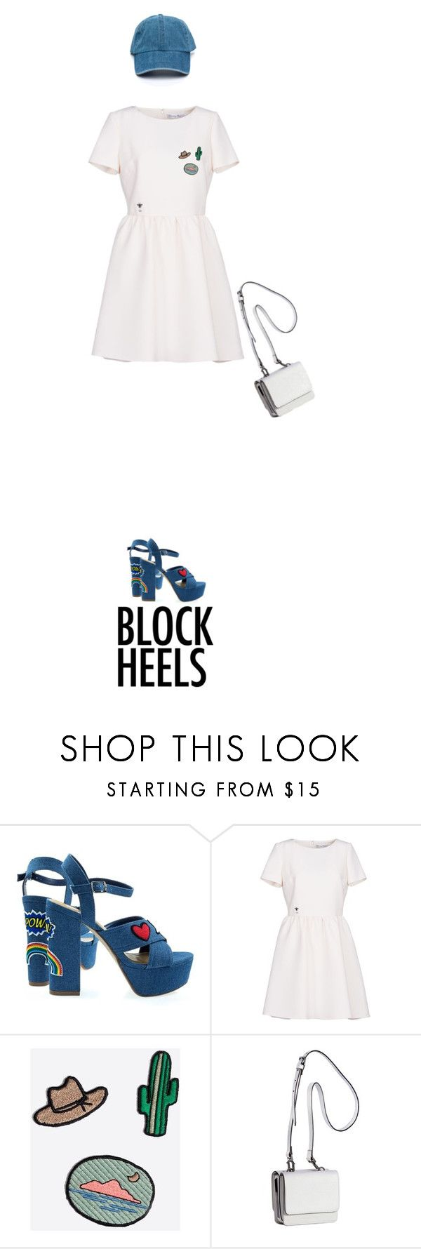 """i'm blocking you on twitter"" by alice-cav ❤ liked on Polyvore featuring Christian Dior, Madewell, Kendall + Kylie, white, Blue and blockheels"