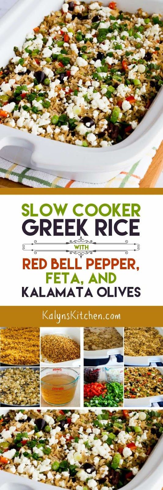 If you need a side dish for grilled meat that can cook without heating up the house, this Slow Cooker Greek Rice with Red Bell Pepper, Feta, and Kalamata Olives is amazing. This tasty rice is gluten-free and South Beach Diet friendly. [found on KalynsKitchen.com]