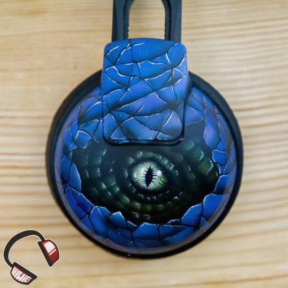 Velociraptor stare handpainted headphones by Lipwigs on Etsy
