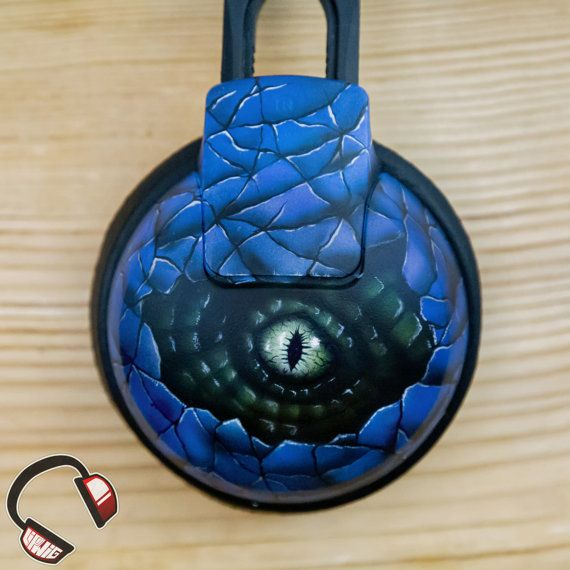 Velociraptor stare handpainted headphones by Lipwigs on Etsy