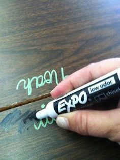 No More Name Plates - this teacher writes the students names on their desks with sharpie paint pens and when the names need to come off you just cover with an expo dry-erase marker then wipe off with a kleenex and viola! So smart!