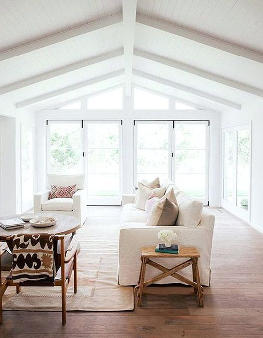 White Living Room With Vaulted Ceilings Part 44