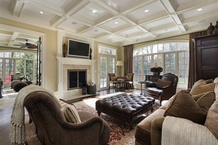5 decorating Tips to make a large Room feel cozier : Large Family Room With Fireplace 097