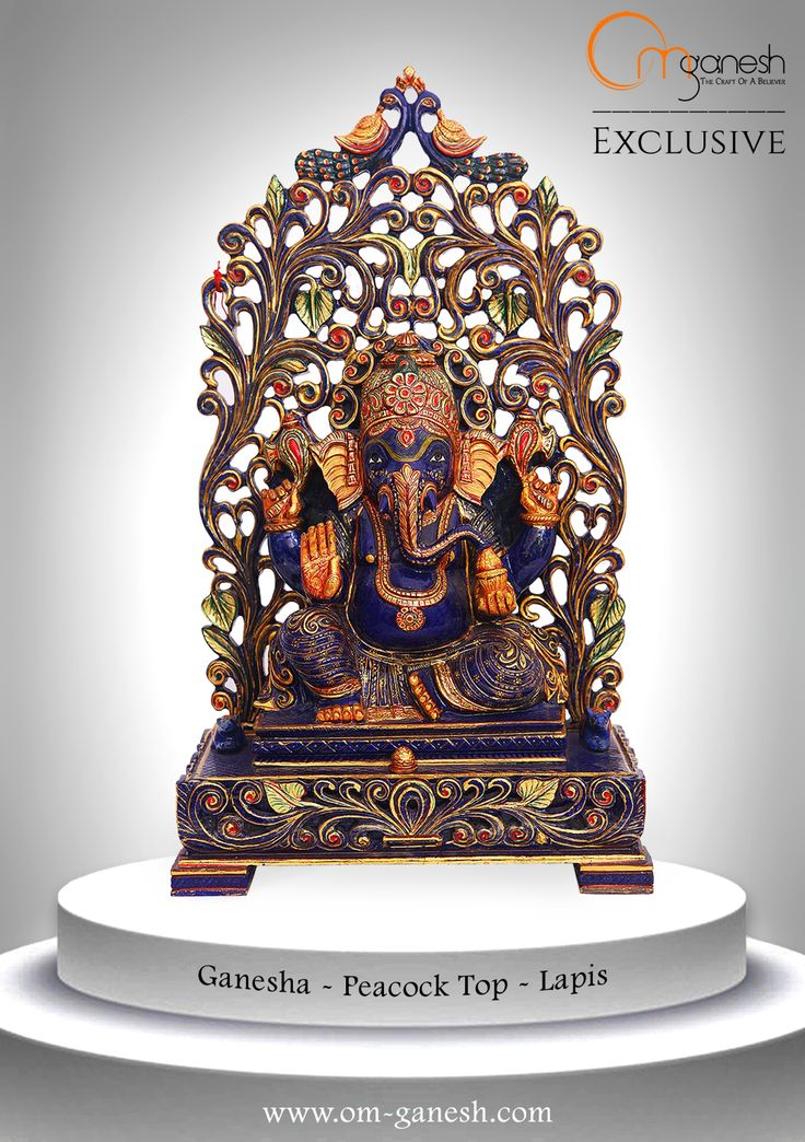 He is the God of education, knowledge, wisdom, literature and the fine arts. He is a perfect choice for your home in the form of this attractive Peacock top idol of Lapis Lazuli. #God #Ganesha #Education #Knowledge #Wisdom #Literature #FineArts #Arts #Perfect #Choice #Peacock #Top #Idol #Lapis #Lazuli