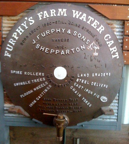 Rear casting of Furphy water cart. Tales told around the water cart became known as furphies, meaning dubious