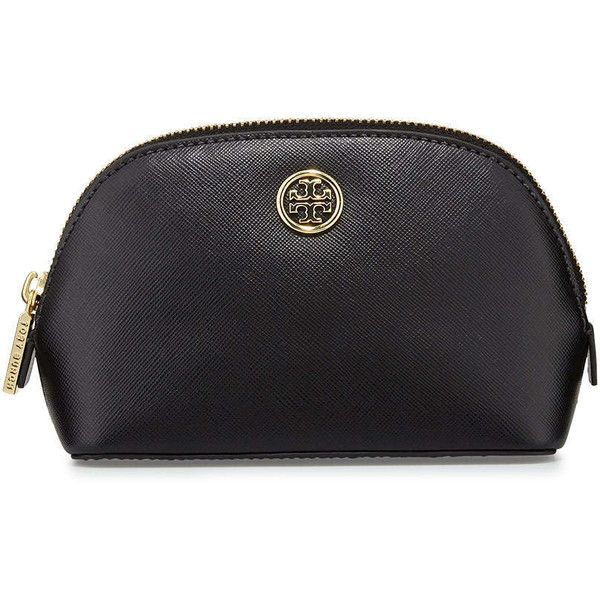 Tory Burch Robinson Saffiano Small Makeup Bag featuring polyvore, beauty products, beauty accessories, bags & cases, bags, makeup bag, black, tory burch makeup bag, tory burch, toiletry kits, travel bag and cosmetic bags & cases